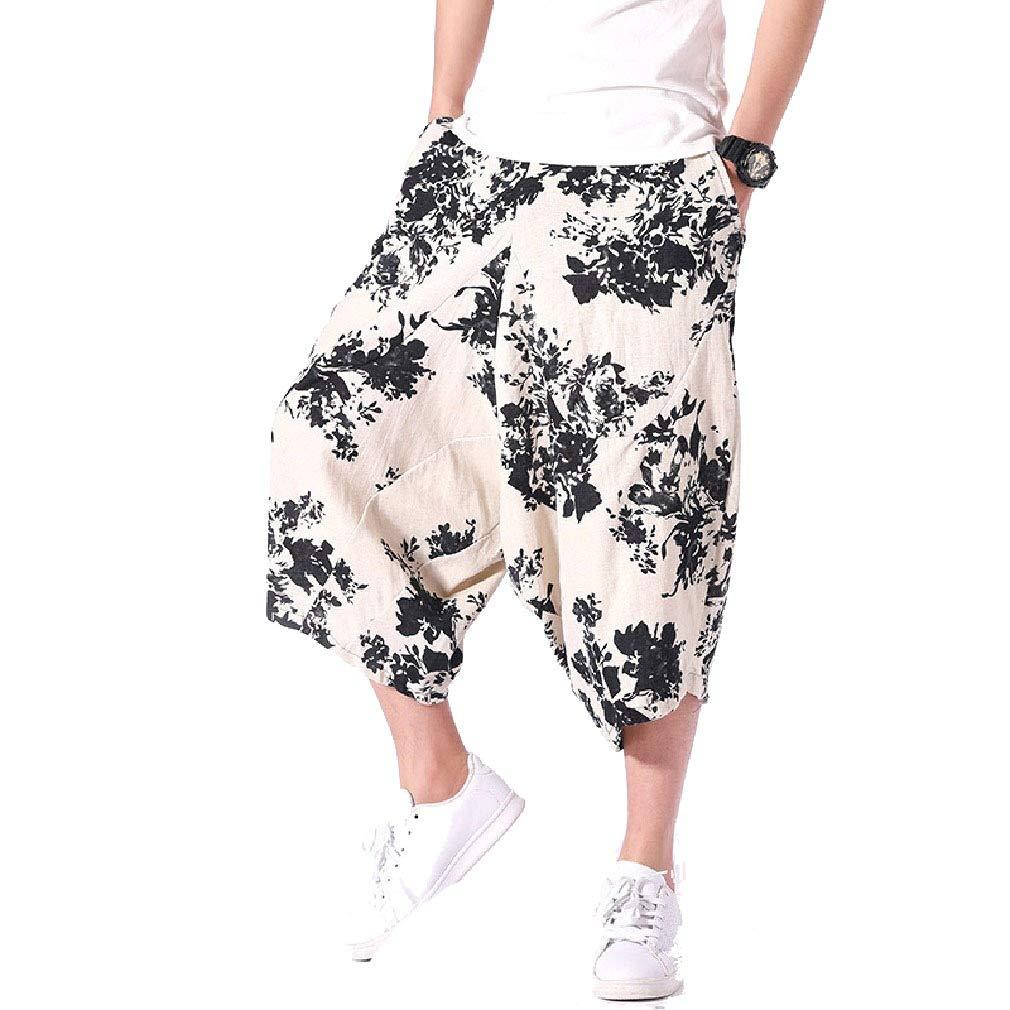 Fseason-Men Chinese Style Regular Fit Print Big and Tall Summer Jogger Pants