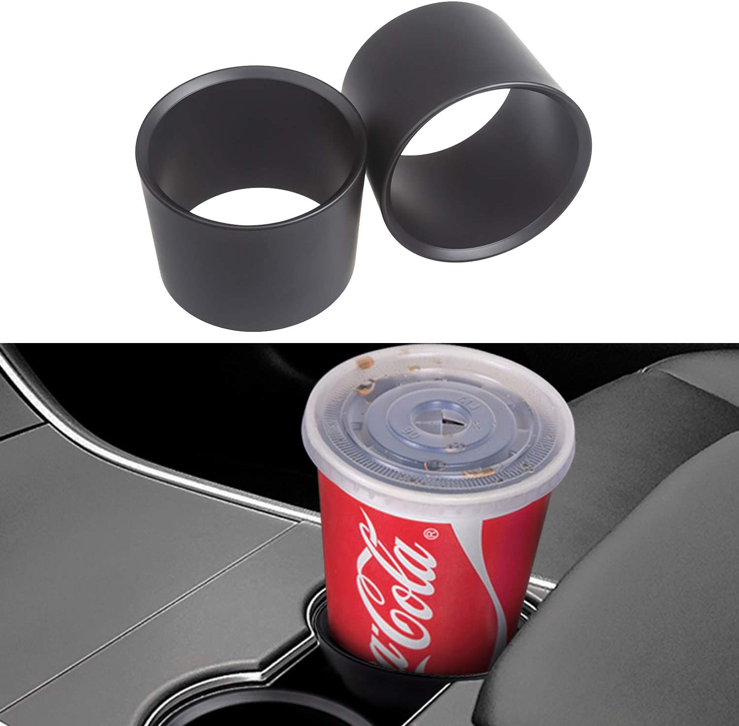 TAPTES Cup Holder Inserts Fit Most of Bottles Car Accessories for Tesla Model 3 Model Y/Tacoma/F-150 Center Console Cup Holders-2pcs