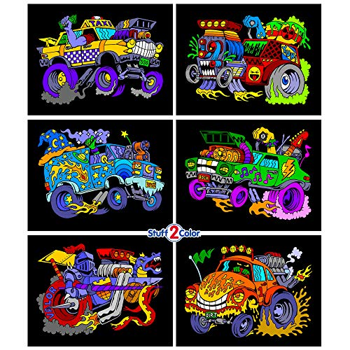 Monster Cars Fuzzy Poster 6-Pack
