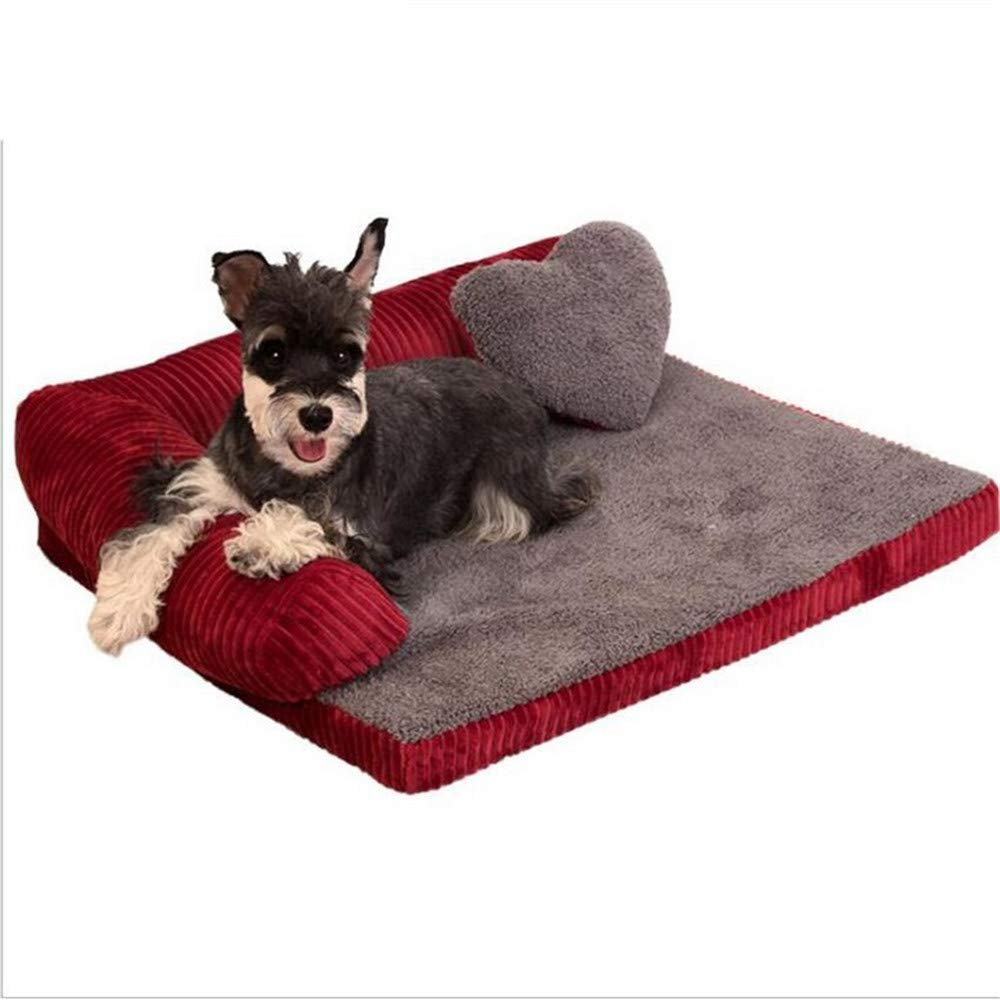 Red MWuwenw Dog Bed Mats for Large Pet SofaStyle Bed Kennel Square Pillow Husky Labrador Large Dogs Cat House Beds Nest,L,Pink