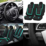 FH Group FB032114 Unique Flat Cloth Full Set Car Seat Covers w. Silicone Steering Wheel Cover, Mint/Black Color- Fit Most Car, Truck, Suv, or Van