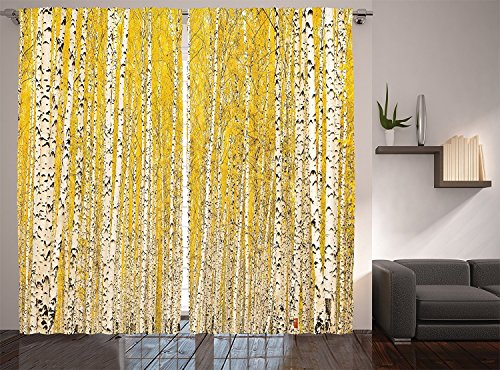 River Birch Leaves (Farm House Decor Collection Autumn Birch Forest Golden Leaves Seasonally Scenics Picture Print Window Treatments Living Boys Girls Room Curtain 2 Panels Set Mustard)