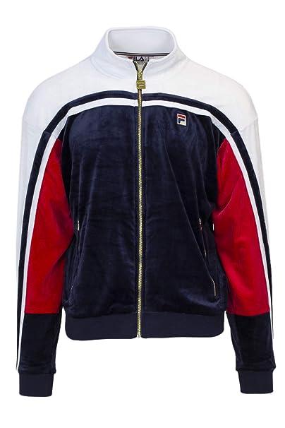 fe4c959f73977 Fila Felpa Black Line 684402 Uomo Zip Bianco Blu Rosso Ciniglia Velluto  Giacca  Amazon.it  Abbigliamento