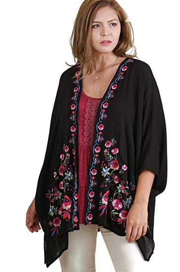 0e76ccb1535 Amazon.com  Umgee Women s Bohemian Floral Embroidered Kimono Plus ...