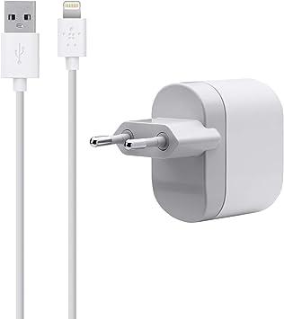 Belkin F8J112vf04 WHT chargeur secteur USB 1 Ampère livré avec cable Lightning 1,2m blanc pour iPhone 5, iPad mini, iPod Touch 5G, iPod nano 7G