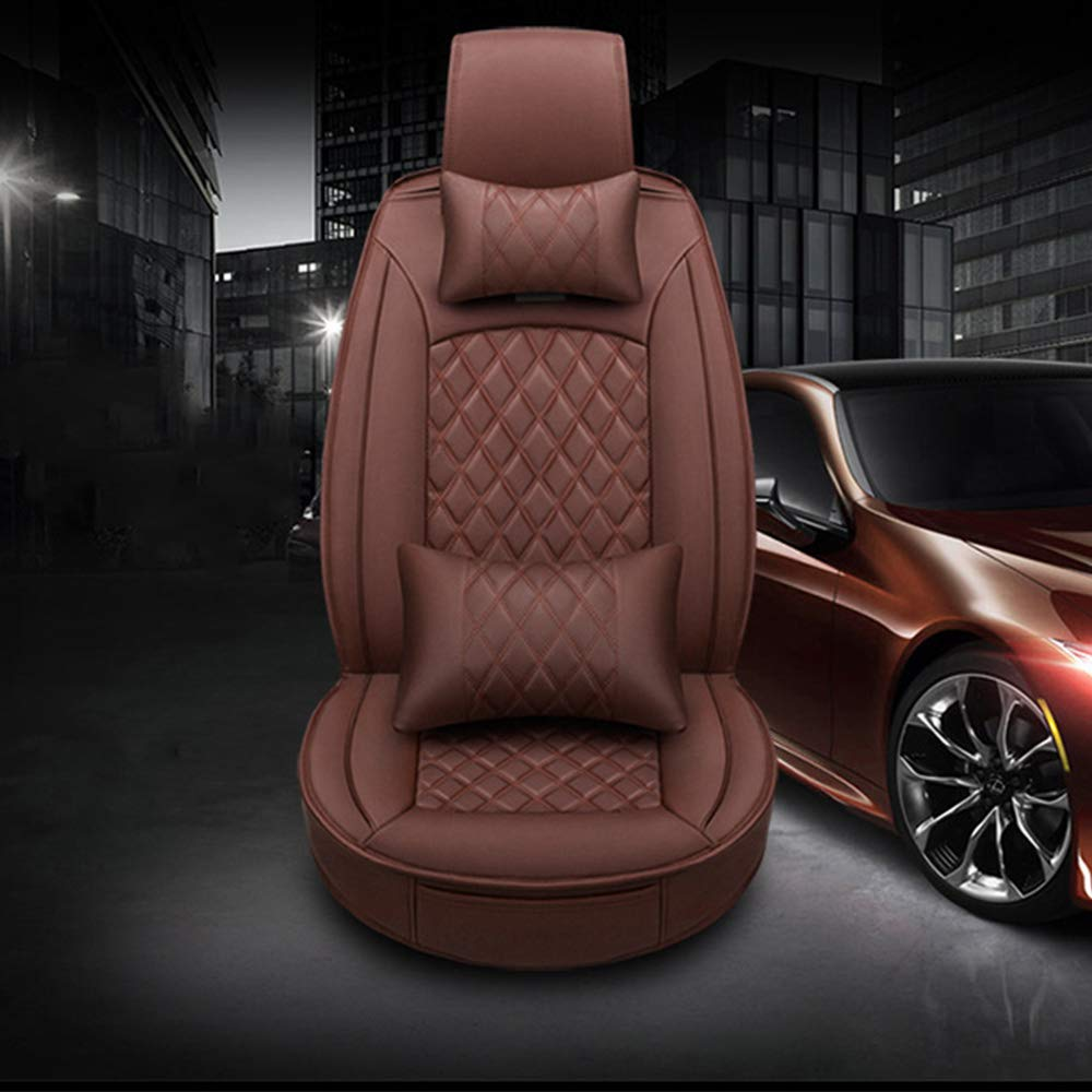 Ele Tec Car Seat Cover Bamboo Charcoal Leather Seat Cushion Compatible Airbag and Rear Removable beige