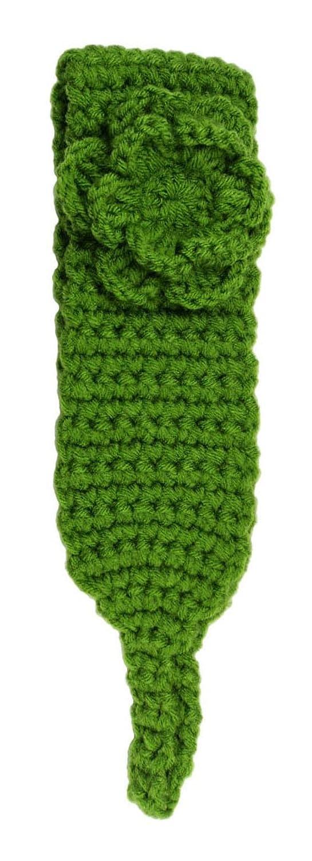 """Asian Idyllica Women's Handmade Crochet Hair Headband 2.5"""" Green"""