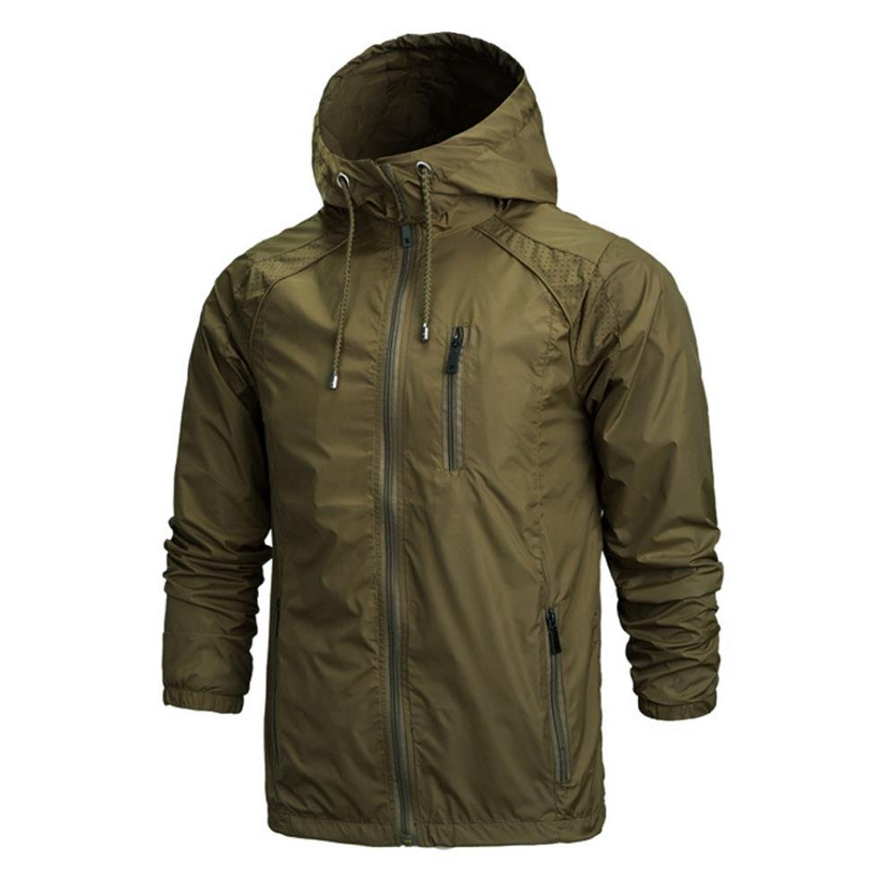 MUST WAY Mens Waterproof Jackets with Hood Breathable Windproof Coat for Outdoor Camping