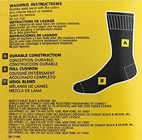 Amazon.com: Stanley Mens Wool Cushioned Work Socks - 2 Pair (Black): Clothing