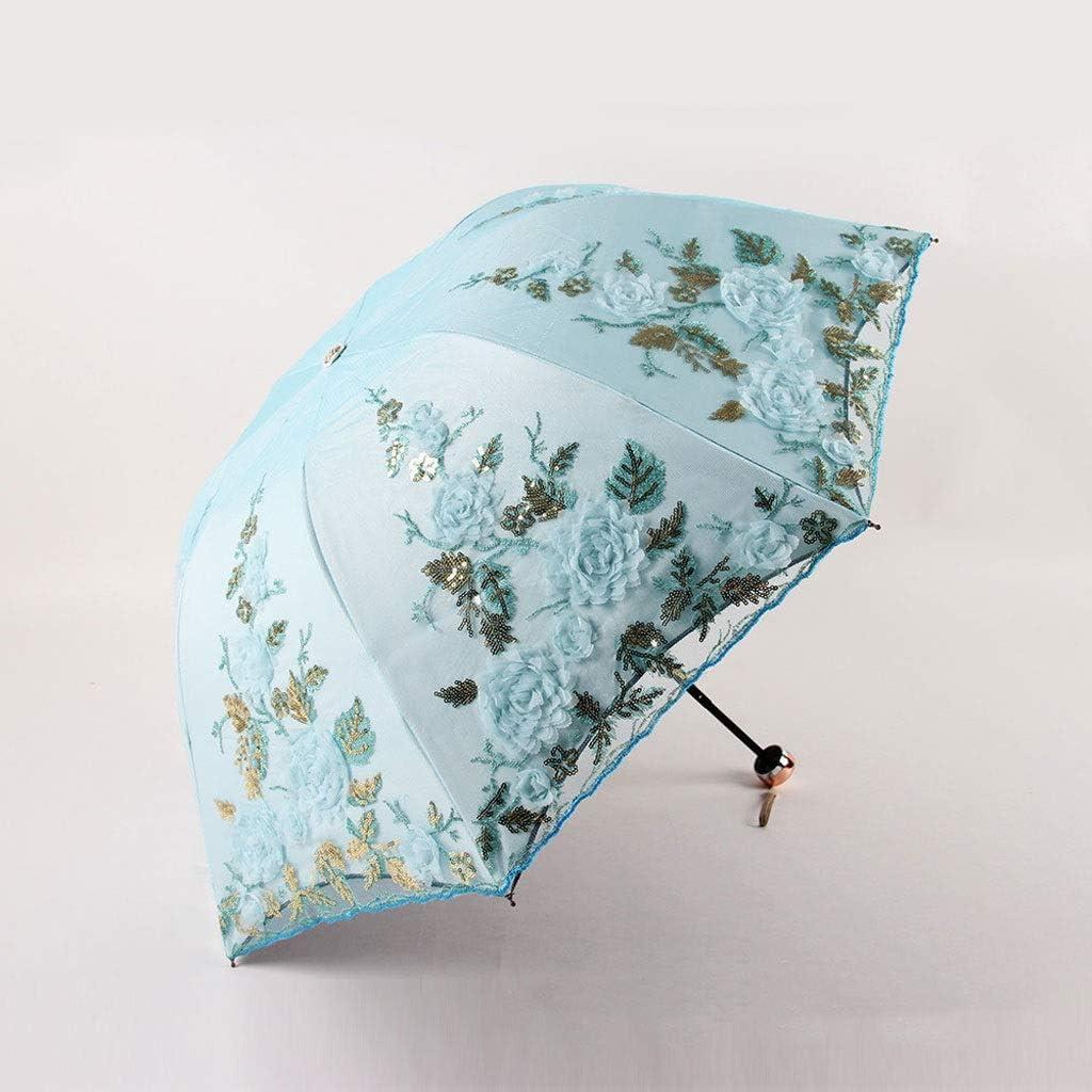 Color : C RXY-UMBRELLA Three Fold Double-Layer Embroidered Umbrella Anti-UV Umbrellas Lace Embroidered Rain and Rain Dual-use Umbrellas