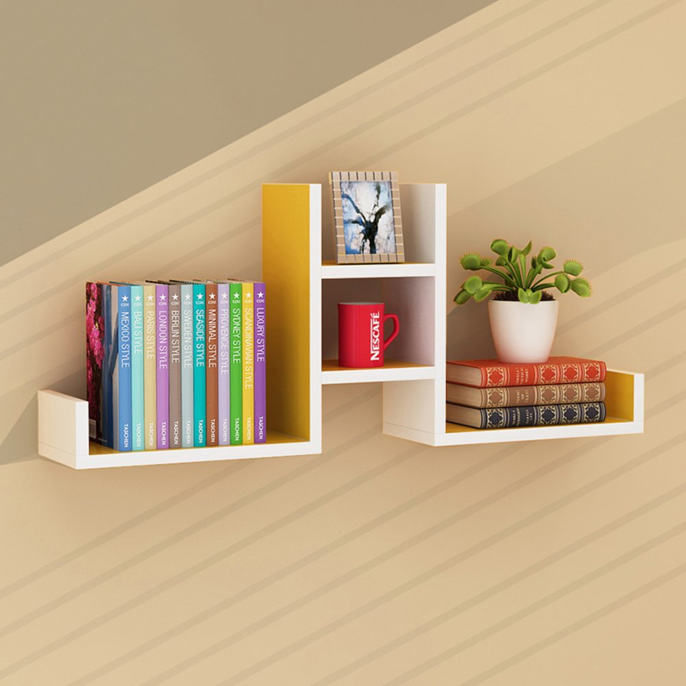 Wall mount shelf,Decorative wall book shelf set hanging flower rack free of punch for living room or bedroom-E