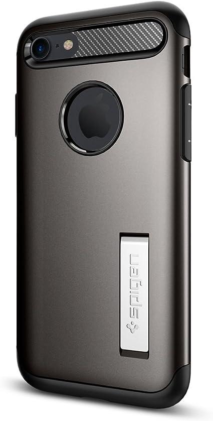 Spigen 042cs20301 Slim Armor Kompatibel Mit Iphone 8 7 Hülle Doppelte Schutzschicht Schutzhülle Mit Integrierten Kickstand Case Gunmetal Elektronik