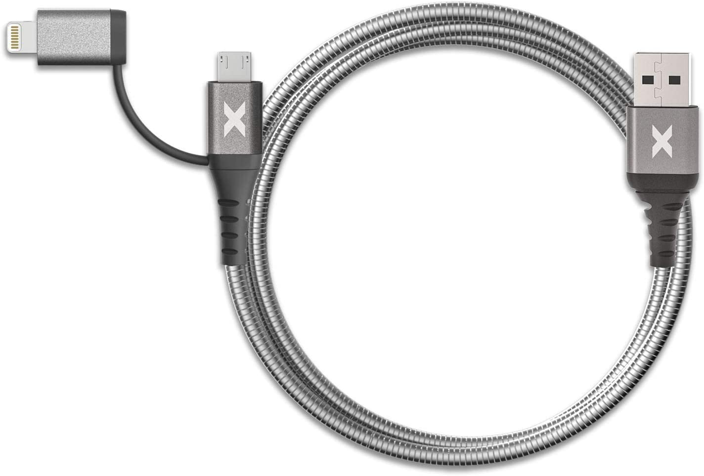 PWR REV BX4-768-2 Bracketron HD Heavy-Duty Lightning to USB-A Combo Cable 1M Micro-USB