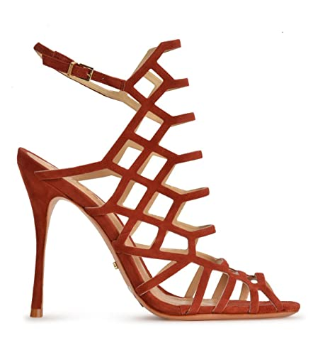 46cdc363cf956 SCHUTZ Juliana Telha Dark Rust Orange Kid Nubuck Stiletto High Heel Caged  Sandals (5.5)