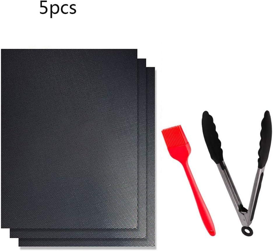 HUADA Parrilla Mat Conjunto de 5, Palo Reutilizable y fácil de no CleanBarbecue La Parrilla del carbón de leña con Barbacoa Accesorios Pinzas y Cepillo de Silicona (Size : 5pcs)