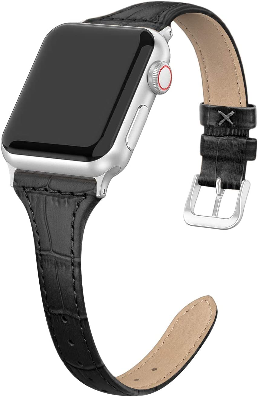 SWEES Leather Band Compatible for Apple Watch 38mm 40mm, Slim Thin Dressy Elegant Genuine Leather Strap Compatible iWatch Series 6 5 4 3 2 1 SE Sport Edition Women, Matte Black