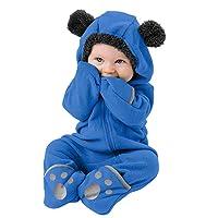 Infant Fleece Romper, Winter Toddler Warm Wool Jumpsuit Baby Boys Girls Long Sleeve Cartoon Bear Ears Hooded Pajamas
