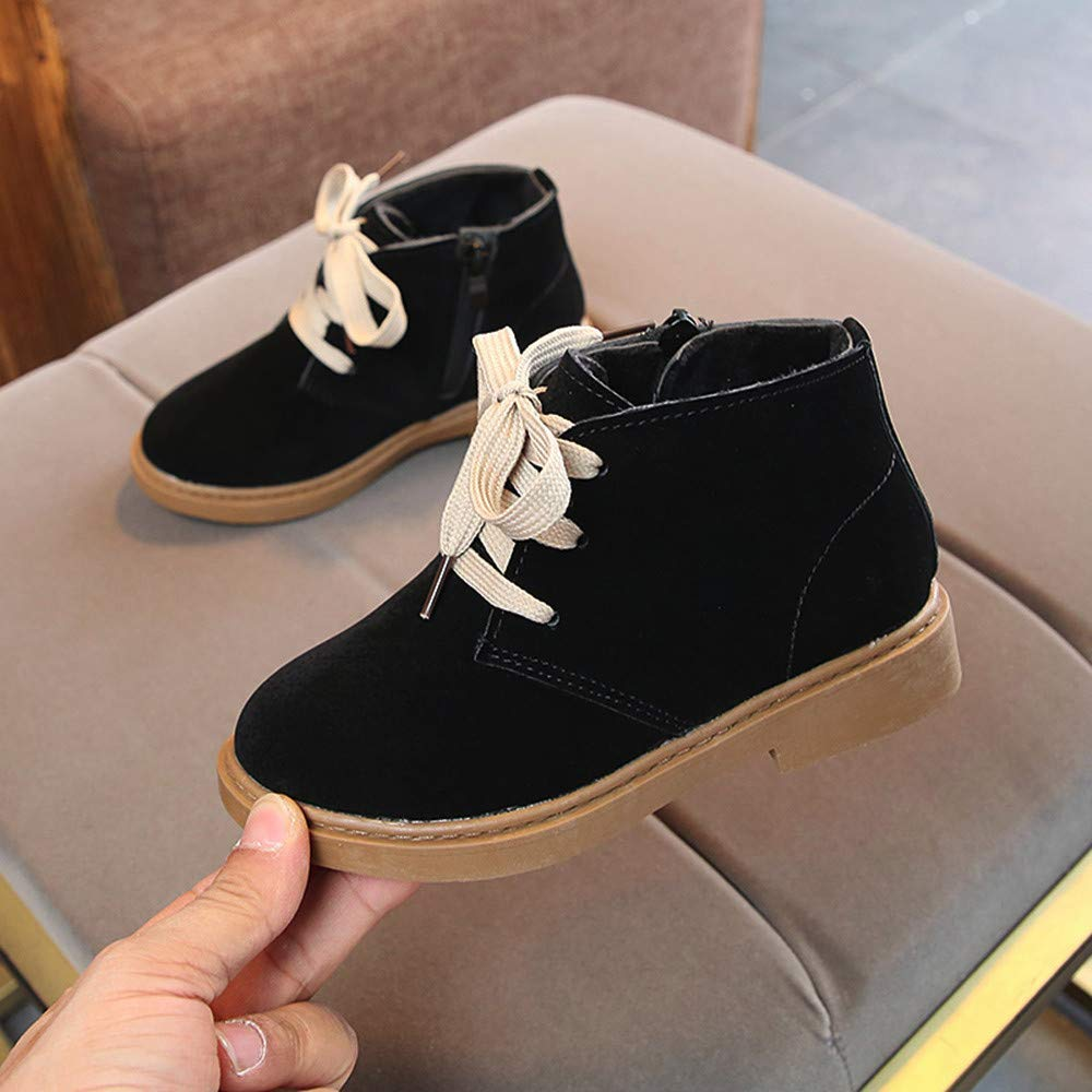 Toddler Boys Girls Lace Up Martin Snow Boots Winter Outdoor Hiking Shoes