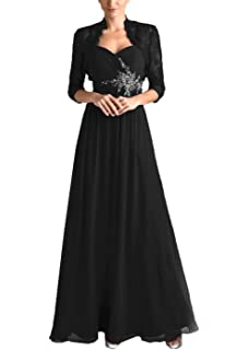 eedf55f6c69 tutu.vivi Women s Chiffon 2 Pieces Mother of The Bride Dresses with Lace  Jacket Pleated