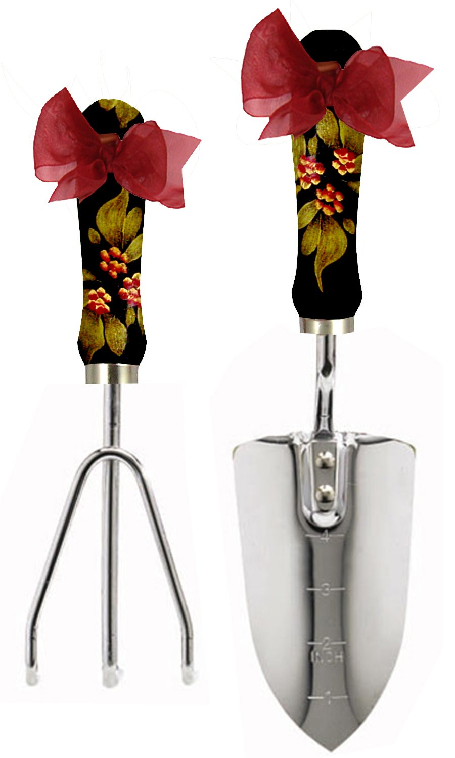 Cute Tools Stainless Steel Garden Shovel and Three Prong Rake - Landscaping Instrument, Hand Painted Wooden Handle In The USA, Durable Yard and Gardening Equipment From CuteTools! - Art For A Cause, Raspberry