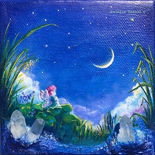 "Dreams of the Clover Fairy, miniature 4x4"" Original Mixed Media Painting, fantasy fairy new moon quartz crystals stars sky clouds blue lilac. READY to SHIP from Terra Art Studio"