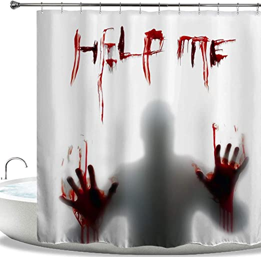 Waterproof Halloween Horror Fabric Walking Dead Blood Bathroom Shower