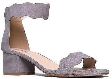 f3e1731bb2ad95 Suede Open Toe Ankle Strap Sandal - Trendy Kitten Heel Shoe - Low Block  Formal Heel