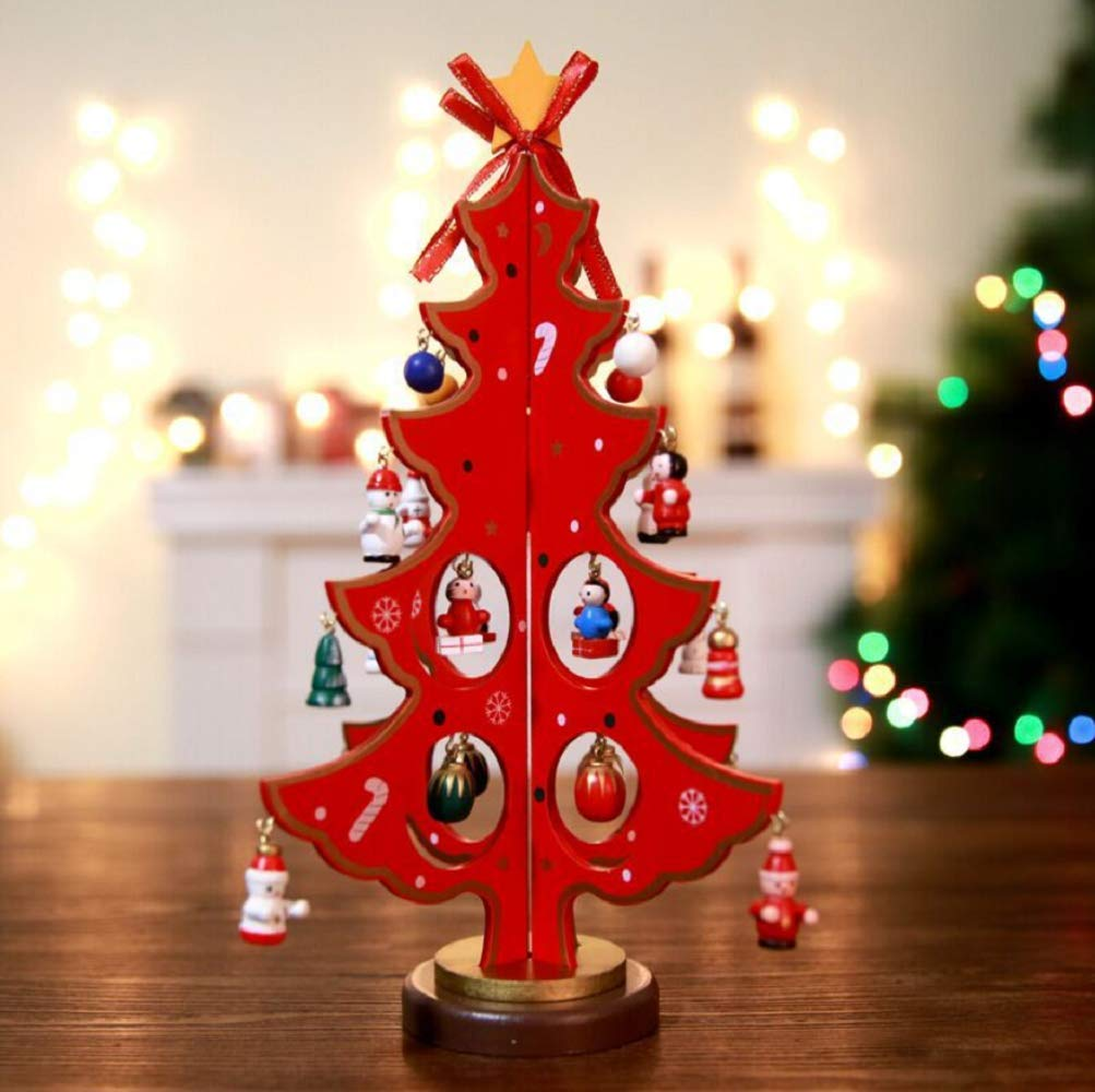 Wooden Small Christmas Tree, Christmas Tree Decoration, Desktop Window Decoration Crafts Decoration, Christmas Items (Large, Medium, Small), A Set of Three Sets,Red by WSJ