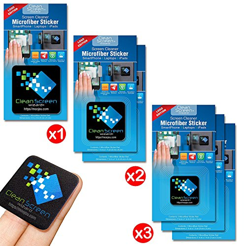 Cleaner 1 Screen (Clean Screen Wizard Microfiber Screen Cleaner Sticker, Handy Screen Cleaning Kit, 6 Pack Bundle Cleaning Stickers, 1 Large, 2 Medium, 3 Small in Black for Multi Size Screens )