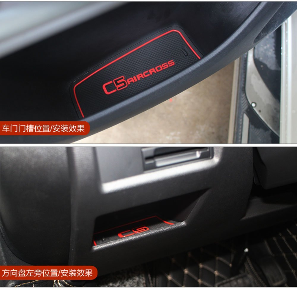 Hireno Gate slot pad For C5 aircross Interior Door Pad//Cup Non-slip mats red
