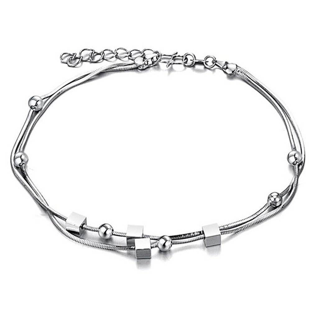 925 Sterling Silver Triple Layered Chain Anklets/Bracelet with Tiny Beads for Casual