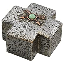 Crossed Arrow Decor Rustic Hammered Silver & Copper Look Trinket Jewelry Box