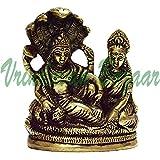 Astadhatu (8 Metals) Made Shri Lakshmi Narayan Idol on Anant Nag/Anant Shayan Brass Idol/Lord Vishnu Idol on Shesh Naag/Shri Padmanabh Swami Idol 10 cm | Vrindavan Bazaar