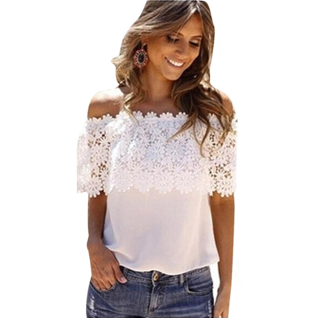 76071a2d9b8c9 Amazon.com  VESNIBA Fashion Women Lace Off Shoulder Casual Shirt Summer Tops  Blouse T-Shirt  Clothing