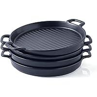 "Bruntmor Round 10 x 8"" Set Of 4 Ceramic Matte Glaze Round Baking Dish Grill Dinner Plates, Food Serving Dinner Trays…"