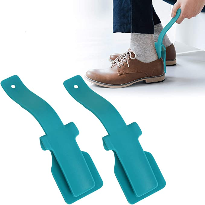 Weisfe78 Lazy Shoe Helper Women and Kids One Size Fits for All Shoes Handled Shoe Horn Portable Sock Slider Shoe Lifting Helper Easy on Easy Off ABS Shoehorn for Men