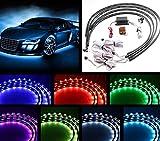 YaeKoo 7 Color 4pcs LED Strip Under Car Tube underglow Underbody System Neon Lights Kit (90cmX120cm)