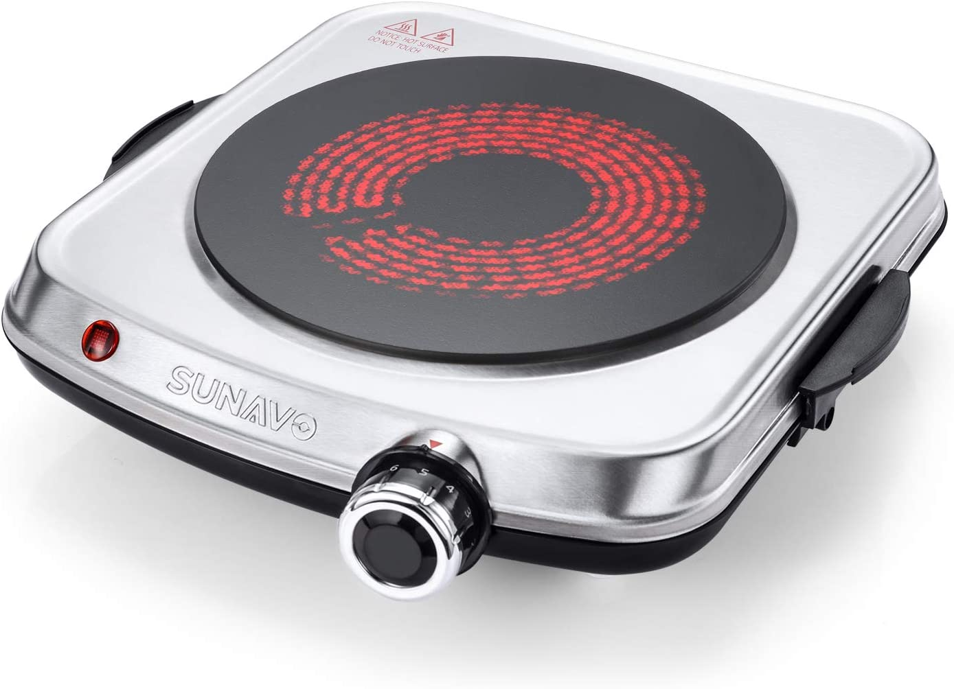 SUNAVO Electric Infrared Burner, 1200W Ceramic Glass Hot Plate, 6 Power Levels Stainless Steel Single Burner for Kitchen Camping RV and More