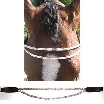 JHL Rolled Diamante Browband Pony Black