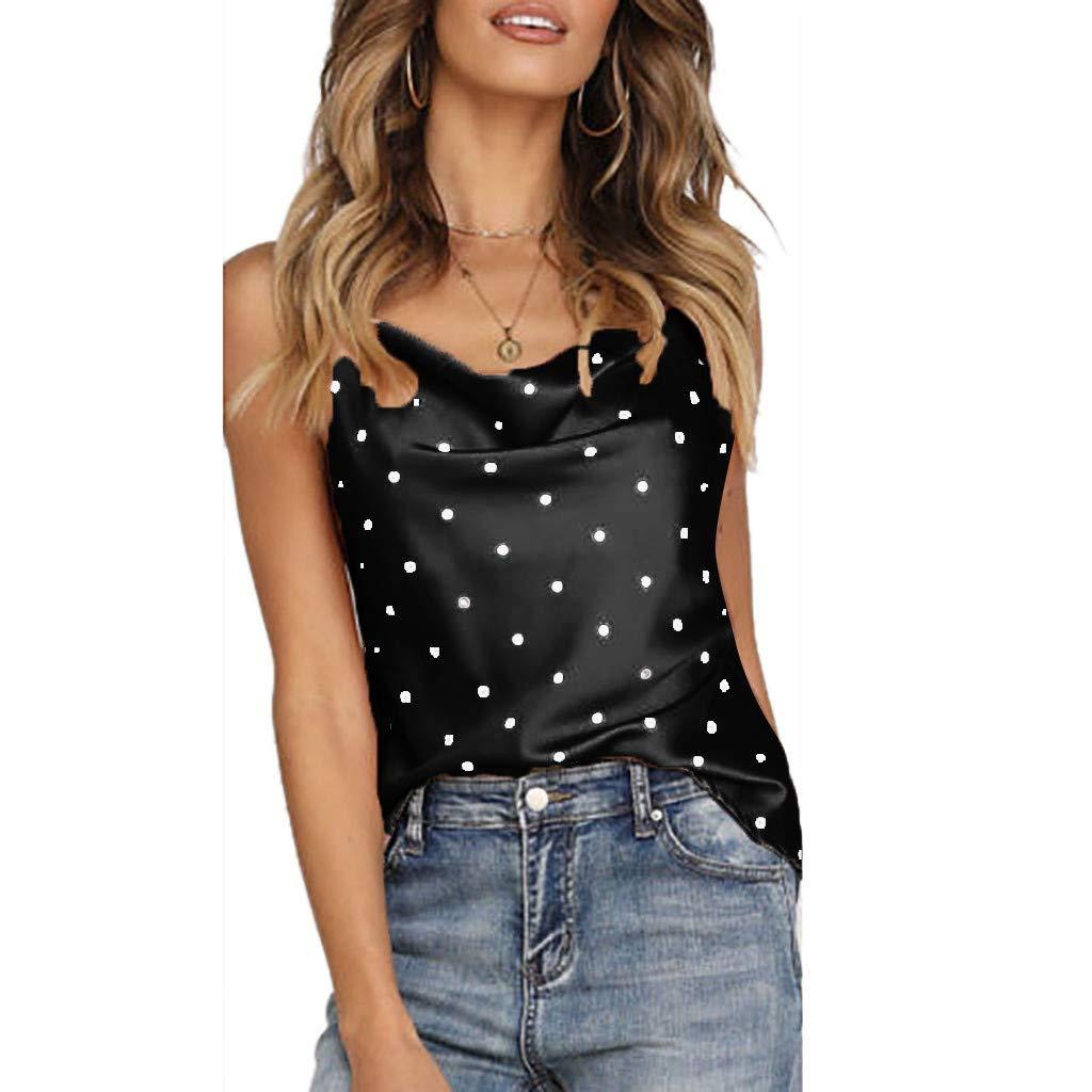iYBUIA Women Polka Dot Satin Silk Tank Tops Sleeveless Summer Cami Camisole Vest Black