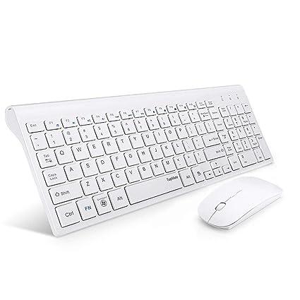 Topmate portátil Ultra Slim Silencio Teclado inalámbrico y ratón Combo, Oficina ratón USB inalámbrico (