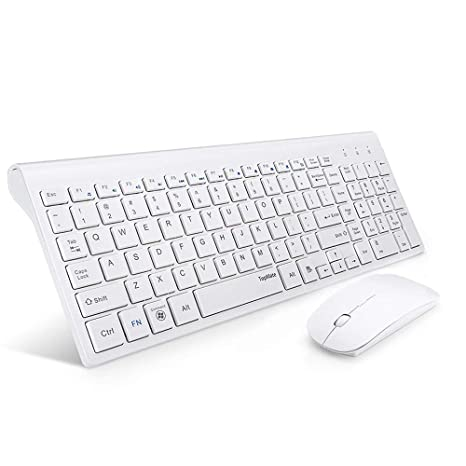 257d3791d86 Amazon.com: TopMate Wireless Keyboard and Mouse Combo | Ultra Slim Keyboard  with Mute Mice | Designed for Office and Home Use Softly | White: Computers  & ...