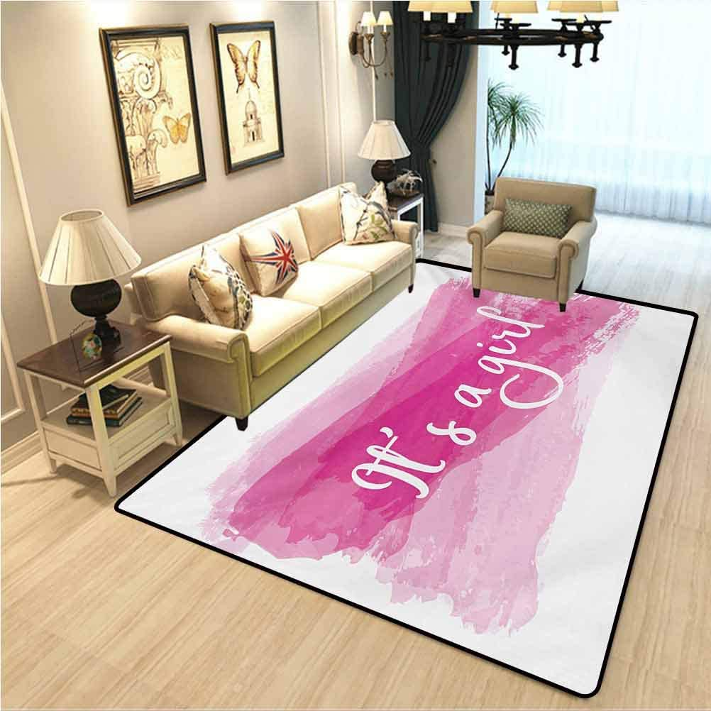 Gender Reveal Non-Slip Yoga mat Carpet Girls Baby Shower Family New Member Style Soft Artsy Sketch Print Interior Bedroom Decorative Rug Hot Pink and White W2xL3 Ft