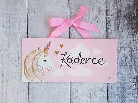 CAROLJU - Cartel de Unicornio Rosa y Dorado con Nombre de ...