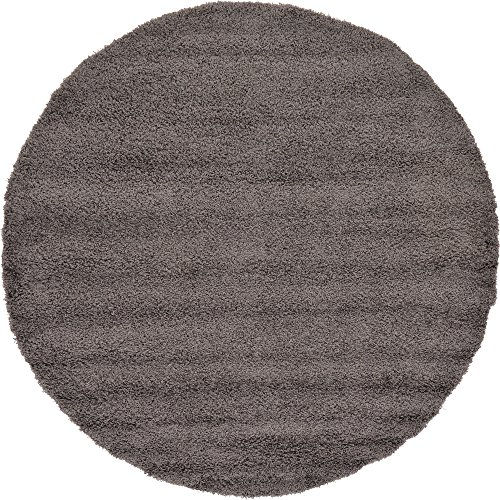 A2Z Rug Cozy Shaggy Collection 8-Feet Round Solid Area Rug - Graphite - Graphite Round