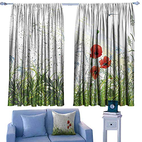 - Mannwarehouse Noise Reduction Curtain Country Decor Illustration of Meadow Field with A Single Fleur-de-lis on Distressed Grunge Background 70%-80% Light Shading, 2 Panels, 63