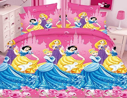 Belomoda 5D Frozen Princess Theme Printed Bedsheet With Pillow Cover With Zipper Pouchs With Zipper Pouch