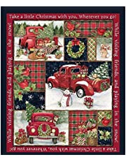 """Clearance Sale !! Christmas Panel Quilt,36'' x 44""""Snowman Gifts Snow Pumpkin Polyester Fabric Panel Fabric Red Truck Collage Panel Home Decorative"""