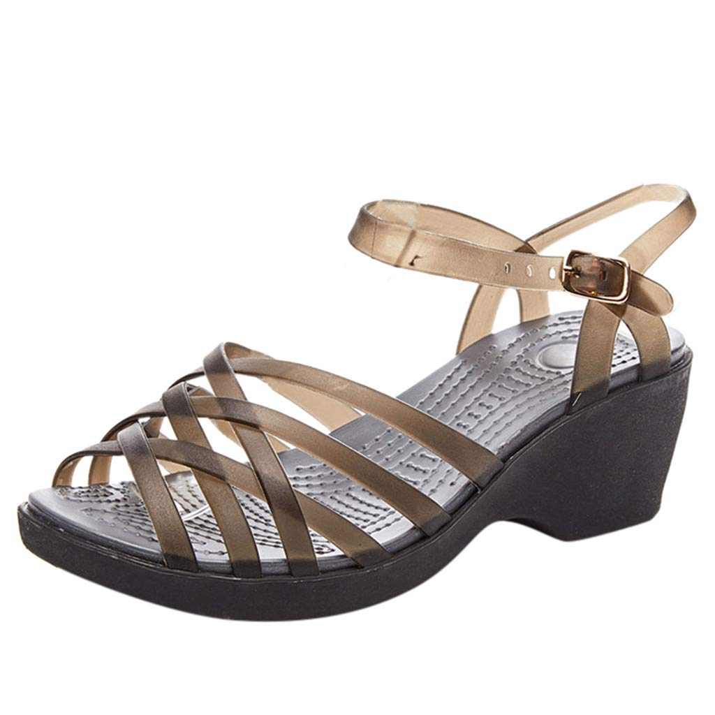 WONdere Women's Summer Wedges With Jelly Shoes TPU Non-Slip High Heel Roman Sandals
