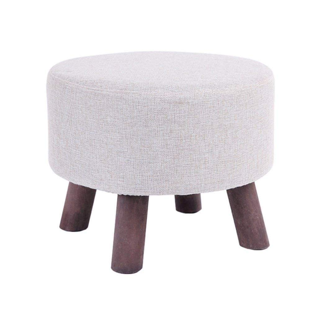 Shoe Stool, Linen Fabric Dustproof Footrest, Nursery Home Suitable for Wooden Round Chairs, Washable and Durable, Bearing Gravity 100KG 45X45X34CM by CS-JZ